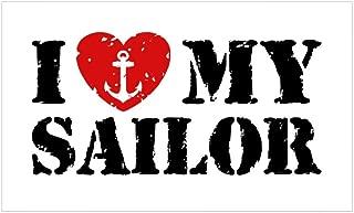 CafePress I Love My Sailor Sticker (Rectangle) Rectangle Bumper Sticker Car Decal