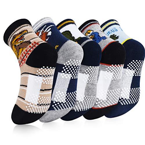 VBIGER 5 Paar Kinder Socken Jungen Antirutschsocken Baumwolle Wärme Kindersocken für Kleinkind Jungen und Mädchen
