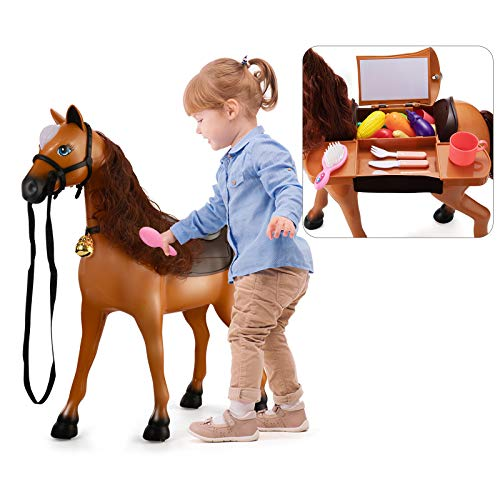 TEMI Riding Horse for Kids, Ride on Horse Riding Toy Push Walking Animal with Wireless Bluetooth, Realistic Sounds & Light, Fruit, Vegetable, Kitchenware Playset for Toddlers Boys Girls Age 3+ (Brown)