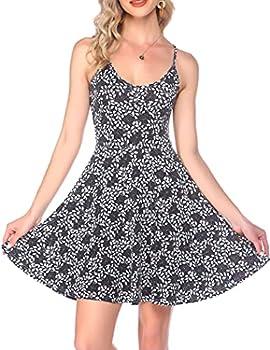 GEESENSS Women s Casual Floral Beach Dress Summer Swing Dress Empire Dress Midi Dress Grey XXL