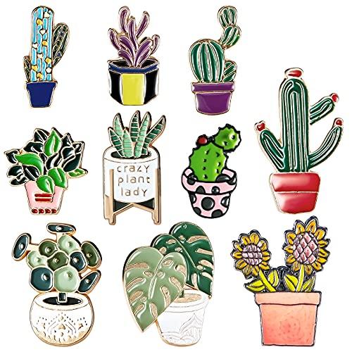 10 Broches de Esmalte de Plantas de Cactus Alfileres de Esmalte de Flores de Cactus en Macetas Alfileres de Solapa de Plantas Suculentas Bonitas Pines de Insignias de Dibujos Animados