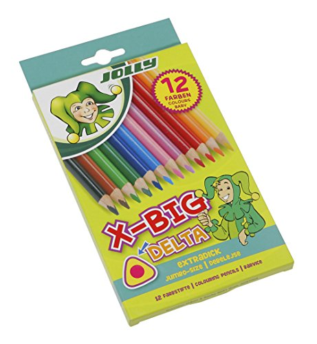 Jolly X-Big Jumbo Delta Triangular Colored Pencils; Set of 12, Perfect for Special Needs, Art Therapy, Pre-School and Early Learners