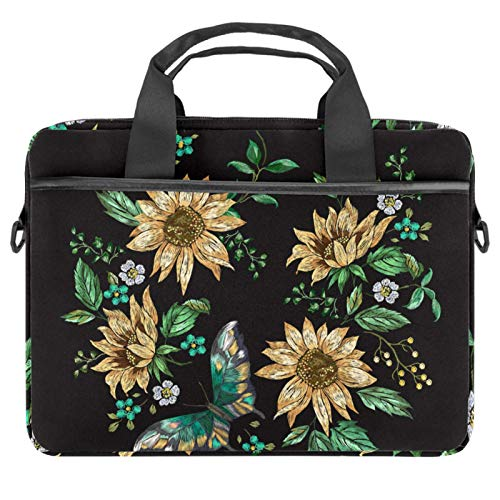 Embroidery Sunflowers amd Butterfly Laptop Bag Expandable Laptop Briefcase Fits Up to 13.4 14.5 Inch Laptop Shoulder Messenger Bag Computer Bag for Travel/Business/School/Men/Women