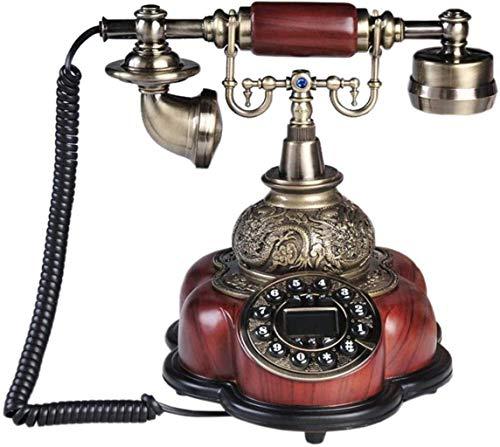 LDDZB Europeo Retro Teléfono Antiguo Landline Madera Sólida Cuerpo Botón Oficina Hogar Teléfono Fijo Línea Fija
