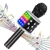 【最新改良版】Verkstar Bluetooth カラオケマイク ワイヤレスマイク 多彩LEDライト付き エコー機能搭載 録音可能 Bluetoothで簡単に接続 無線マイク 伴奏機能付き 音楽再生 家庭カラオケ ノイズキャンセリング Android/iPhoneに対応 (ブラック)