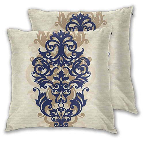 Kitchen Decor Cushion Cases Pillowcases Classical Baroque Vintage Design Print Victorian Style Brush Kitchenware Oriental for Couch Sofa Bed Navy Golden Cream 20' x 20', Set of 2 (Insert Not Included)