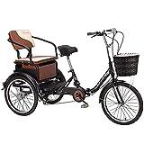 Triciclo para Adultos Bicicleta de Crucero de Velocidad Variable de 20 Pulgadas Tipo de Pedal Bicicleta Humana de 3 Ruedas Que Puede Transportar Personas Bicicleta para Adultos Montar Bicicleta con