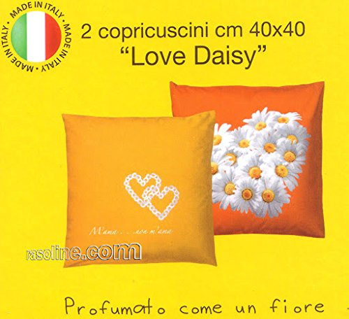 Lot 2 taies copricuscni Love Is Daisy bassetti Orange 40 x 40 cm