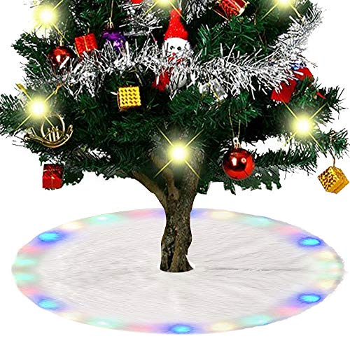 Ghopy Weihnachtsbaumdecke Weihnachtsdeko Weihnachtsbaum Schürze Weihnachtsbaum Rock Plüsch Christmasbaumdecke LED Bunt Elegante Dekoration (90cm)