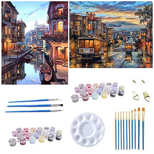 Puosike Pintura por números, para adultos y niños principiantes 2 unidades, pintura DIY por números crepúsculo y Venecia, para decoración de pared del hogar (40 x 50 cm)