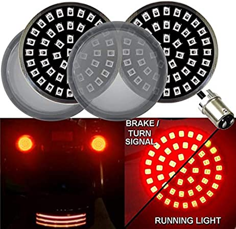LED Turn Signal Kit, Add Smoked Lenses Eagle Lights Generation II Midnight Edition 2 Inch LED Turn Signals with White Running Lights for Harley Davidson and Rear Amber Front 1157 1156