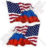 USA Vereinigte Staaten von Amerika und RUSSLAND, Amerikanisch und Russische Föderation Wehende Flagge, Fahne 75mm Auto & Motorrad Aufkleber, x2 Vinyl Stickers (Links - Rechts)