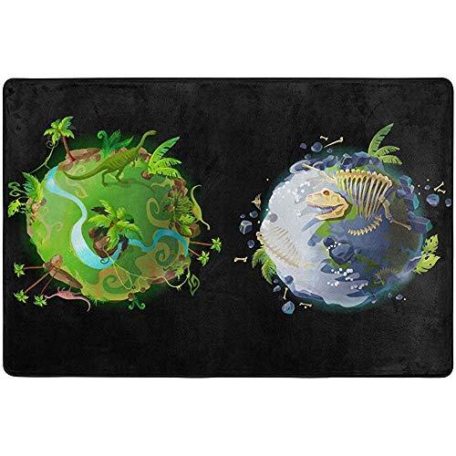 Qinzuisp tapijt Primitive Earth dinosaurus, bedrukt, gemakkelijk te reinigen, voor woonkamer, slaapkamer, 150 x 100 cm
