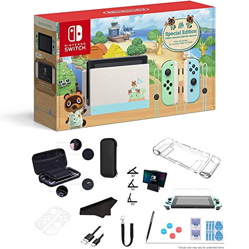 """Newest Nintendo Switch - Animal Crossing: New Horizons Edition 32GB Console - Pastel Green and Blue Joy-Con, 6.2"""" Multi-Touch 1280x720 Display, WiFi, Bluetooth, HDMI and GalliumPi 12-in-1 Bundle"""