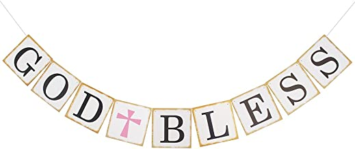 God Bless Banner Baptism Christening First Communion Baby Shower Decoration Holy Religious Bunting Garland Party Supplies Decor Sign Decorations (Pink Cross)