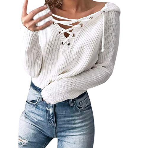 Women's Lace Up Loose Long Sleeve V-Neck Ripped Pullover Knit Sweater Crop Tops with Hoodie by Forthery White