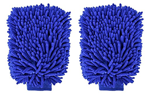 WeTest Car Care Chenille Wash Mitt 2 Pack - Extra Large Size - for Dust, Wash, and Buff - Wash Glove - Lint Free - Scratch Free-Blue