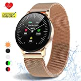 HuaWise Smartwatch with All-Day Heart Rate Monitor and Activity Tracking,Sleep MonitoringBluetooth Waterproof Smart Watch,Step Counter Pedometer and Calorie Counter for Android and iOS (Gold)