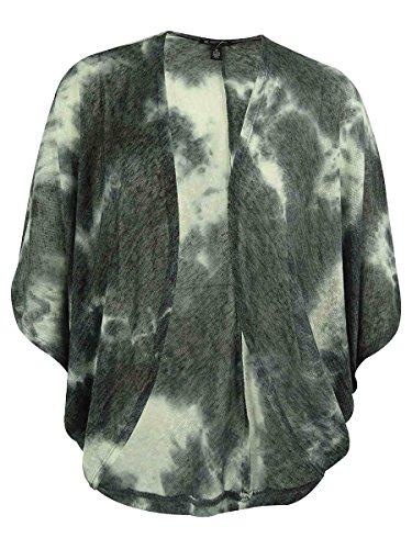 INC Womens Plus Tie-Dye Open Front Cardigan Top Gray 1X