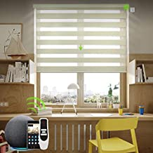 Yoolax Motorized Zebra Shade Work with Alexa, Light Filtering Smart Shades for Windows with WiFi Hardwired Power Motor, Blackout Electric Window Shades with Remote Control, Custom Size (80% Beige)