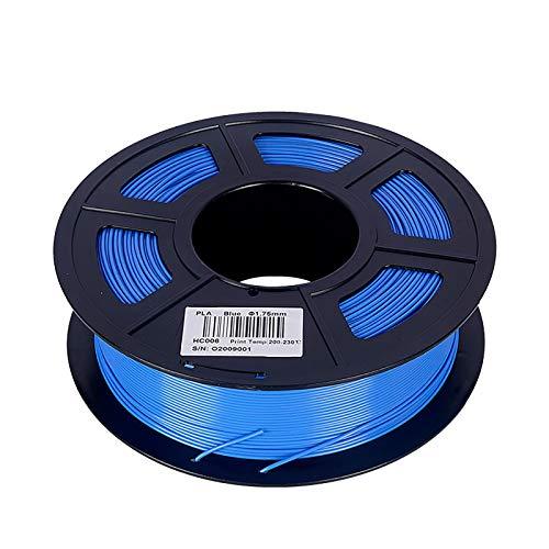 PLA Filament 1.75mm 3D Printer Filament PLA Filament Dimensional Accuracy +/- 0.02mm 1KG (2.2LBS) Spool 300M 3D Printing Material(Color:blue)