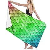 Serviette de bain, Microfiber Bath Towels for Hotel Swimmers, Colorful Rainbow Mermaid Scales Green Lightweight &Super Soft Bath Towels Travel Towels for Beach Sport Camping Swim Travel Gym Shower
