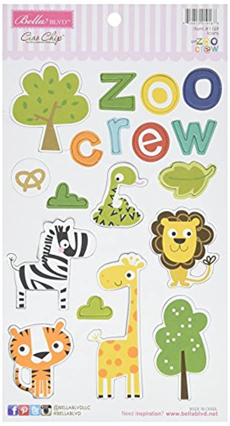 Bella Blvd 1169 The Zoo Crew Chipboard Icons, Multicolor