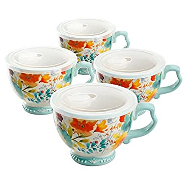 The Pioneer Woman Willow Cup Mug Set 27oz with Lids Hot Cold 4 Piece