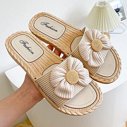 LLRR Zapatos Piscina de Mujeres,Zapatillas de Fondo Suave con Punta Abierta de Verano para Mujeres Nuevas, Sandalias Planas de Playa Linda-Apricot_40-41,Zapatillas de Ducha para Mujer