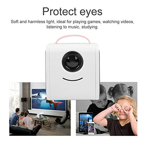 Mini proyector portátil de educación infantil, proyector HD LED HDMI, AV, TF, USB, 1080P, luz suave protege los ojos, proyector de cine en casa 320 x 240, mejor regalo para niños (rosa Reino Unido) miniatura