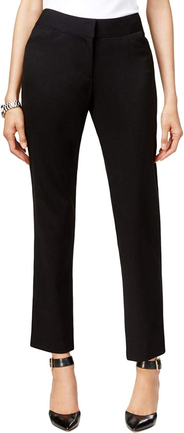 Tahari ASL Womens Petites Linda Casual Fit MidRise Dress Pants Black 12P