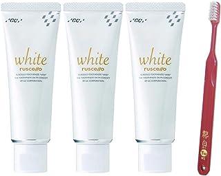 GC ルシェロ 歯磨きペースト ホワイト 100g× 3本 + 艶白(つやはく) 二段植毛歯ブラシ (日本製) ×1本 歯科専売品