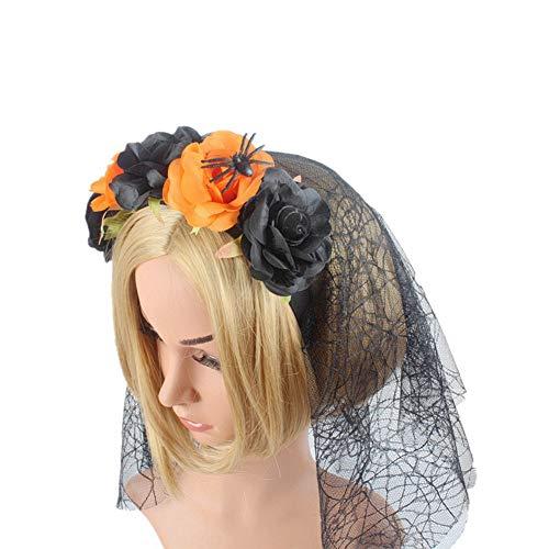 Cintas de Pelo para Mujer, Fiesta De Halloween Naranja Negro Diadema Rose Bruja Araña De Simulación De Maquillaje, Halloween Hebilla De Cabeza De Malla Suave Cabeza Envuelva Hairband Novedad A