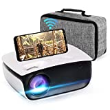 Projector, Oecrayy Mini WiFi Projector 5500 Lumens [Native 1028x720P] Support 1080P Mini Projector, 200'' Screen Wireless Mirroring Home Theater Projector Compatible with iOS /Android /PS4 /PC, White