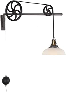ZfgG Vintage Iron Pulley Wall Lamp, E27 Industrial Retractable Chandelier Antique Pulley Rise and Fall Glass Wall Light for Kitchen Island Dining Room Bar Loft Hallway Wall Decoration