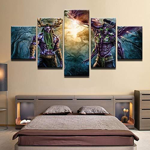 Canvas prints 5 stuks 5 Panel World Of Warcraft Game Poster Muur Foto Woondecoratie Woonkamer Doek Muur Foto Afdrukken Op Canvas-EEN_maat + A