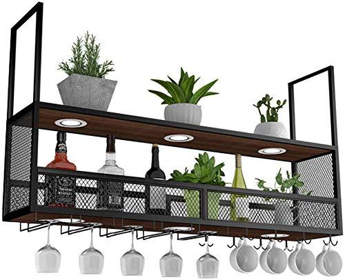 Fengfan Wijnrek met glashouder (met spotlights) | plafond hangende wijnhouder metaal hout | wijnfleshouder | opgehangen wijnglashouder (zwart) 120×30×80cm zwart