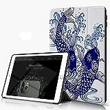 Carcasa para iPad 10.2 Inch, iPad Air 7.ª Generación ,Ola Japonesa Carpa Animales Fauna silvestre Japón Dibujo Peces Pintura Agua dulce Ag,incluye soporte magnético y funda para dormir/despertar
