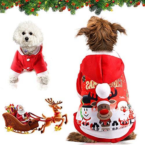 WELLXUNK® Navidad Ropa para Perros, Sudadera con Capucha para Perro Gato, Navidad Ropa para Mascotas, Navidad Mascotas Sudaderas con Capucha, Cálido Disfraz De Invierno para Cachorros Y Gatito (L)