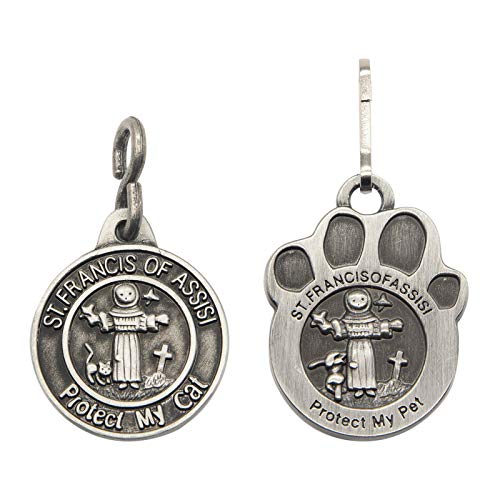 Pet Tags Engraved 2 Packs St Francis of Assisi Dogs Cats Medal Pendant Collar Charm Protect My Pet