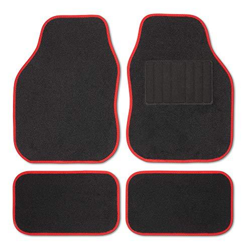 Safe Travel 27552 Universal Car Mats, Right Hand Drive (RHD), Welded Heel, Red Binding