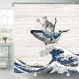 TOMOZ Funny Cat Duschvorhang Katze reitet auf Wal im Ozean Wave Badezimmer Vorhang Japanische Die große Welle Off Kanagawa Stoff Duschvorhänge mit Haken 175 x 177 cm