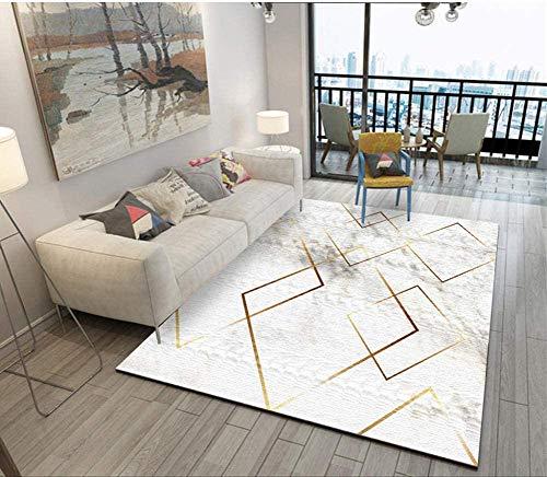 GJXY Qualité Antidérapant,Fil en Or Blanc de Tapis de Salon géométrique Moderne de Polyester, Résistant Facile d