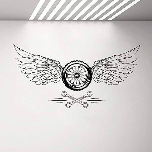Calcomanía de vinilo con alas de rueda de reparación de coches, pegatinas de pared de garaje, decoración fresca extraíble hombre cueva pegatinas de pared de papel pintado ornamento 84 x 42 cm