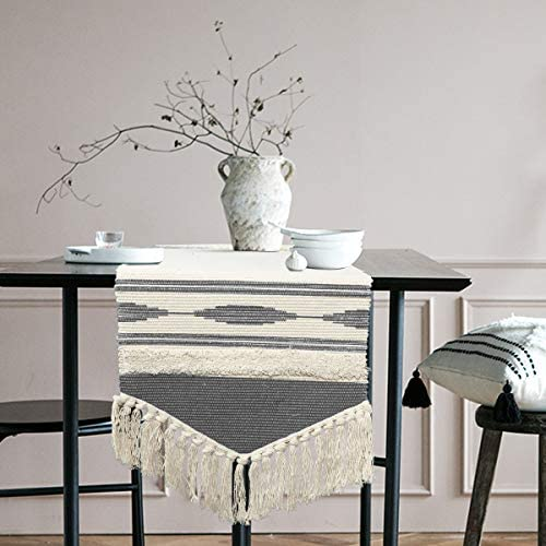 KIMODE Moroccan Fringe Table Runner 14 in x 72 in Bohemian Geometric Cotton Handmade Woven Tufted product image