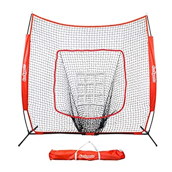 GoSports 7 x7  Baseball & Softball Practice Hitting & Pitching Net with Bow Frame Carry Bag and Bonus Strike Zone Great for All Skill Levels