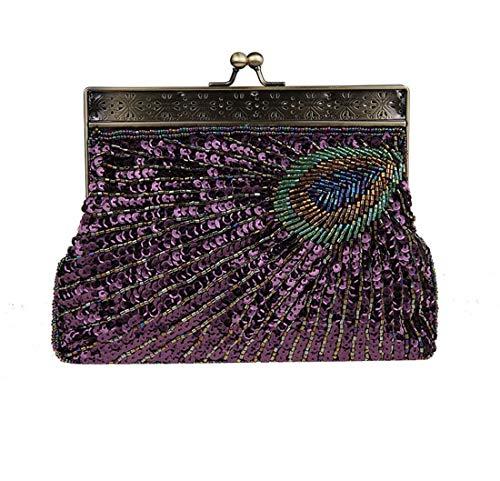 Luckywe Donna Pochette da Cerimonia Pochette Pavone Perline Paillettes da Sera Sacchetto Elegante A42 Viola