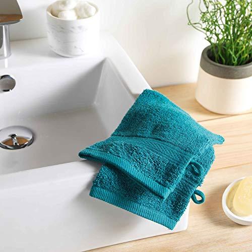 DOUCEUR D'INTERIEUR 2 gants de toilette 15 x 21 cm eponge unie colors emeraude