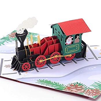 Liif Polar Express Christmas Train 3D Pop Up Christmas Card Happy Christmas Cards For Kids Holiday Card Xmas Card Gift  Christmas Train