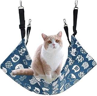 猫 ハンモック 猫 ケージ キャットハンモック ネコハンモック ヒモ調整可能 ベッドハンモック 両面ズック 洗える 夏秋用 昼寝 猫ベッド 耐荷重10kg 通気性抜群 棉麻 大きい 58×48cm